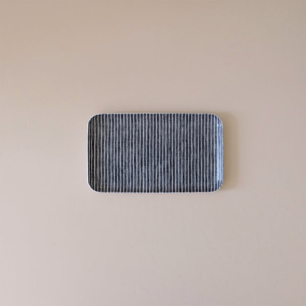 Linen Coated Tray Small Charcoal Grey & White Stripe