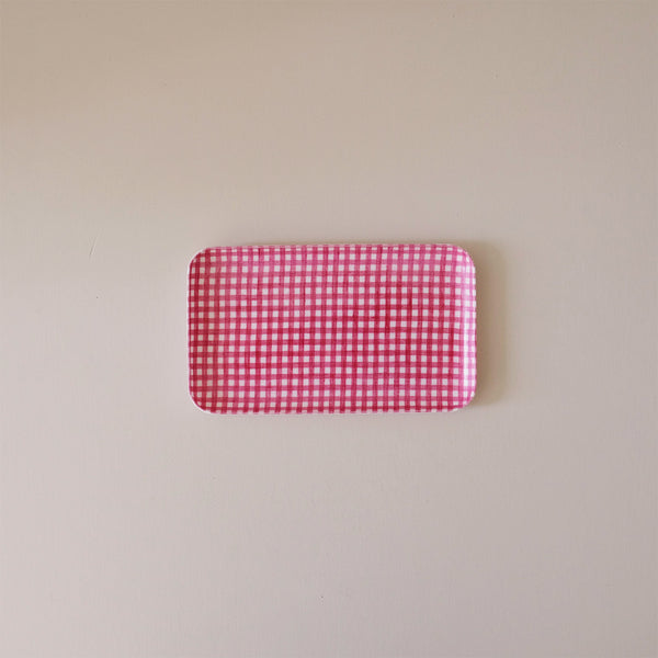 Linen Coated Tray Small Red Gingham