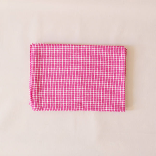 Linen Tablecloth Pink & White Check
