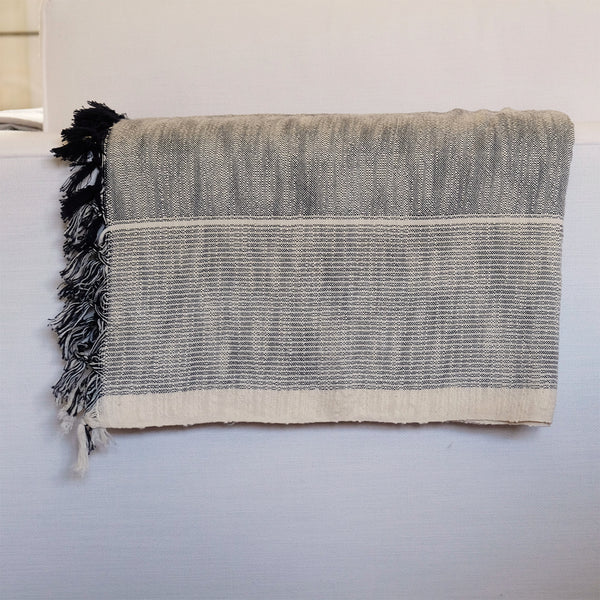 Turkish Throw Charcoal/Ivory