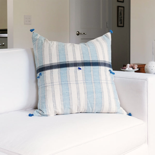 Navy & Blue Striped Pillow