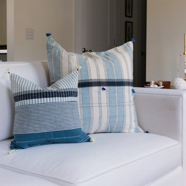 Teal Striped Pillow