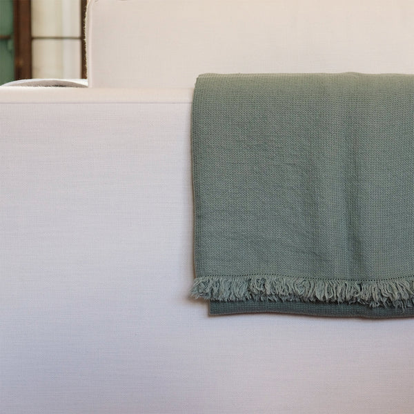 Washed Waffle Throw Spa Green