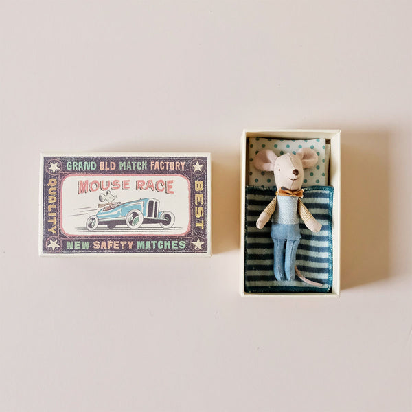 Little Brother Mouse with Bowtie in Matchbox