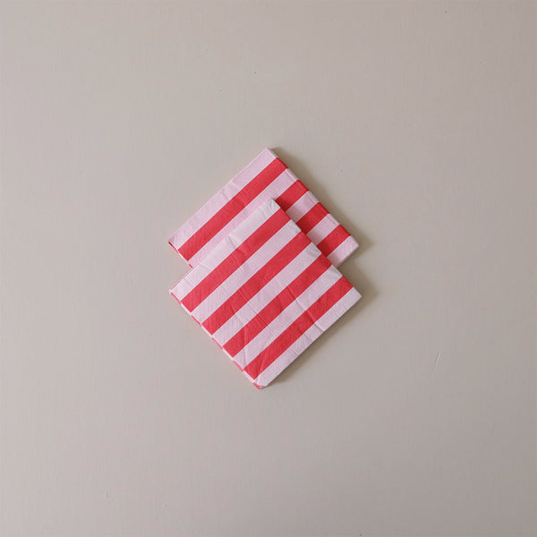 Cocktail Napkins Blush & Cherry Stripes