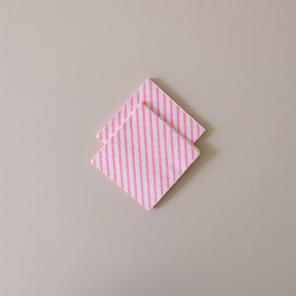 Cocktail Napkins Neon Rose Stripe