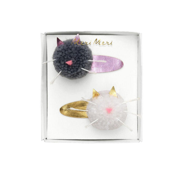 Cat Pom Pom Hair Clips