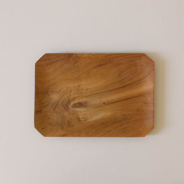Teak Root Bevelled Tray Large