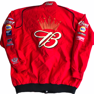 Back of Red Vintage Nascar Racing Dale Jr Budweiser Racing King of Beers Jacket. Men's Size XXL
