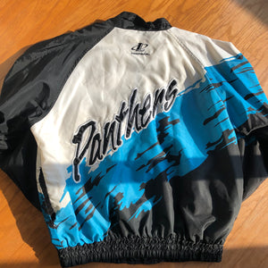 Rare Carolina Panthers Authentic Proline Logo Athletic Paint Splash Windbreaker! Men's XL