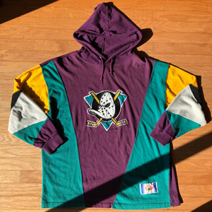 Anaheim Mighty Ducks Rare Vintage Slap Shot Colorblocked NHL Hoodie