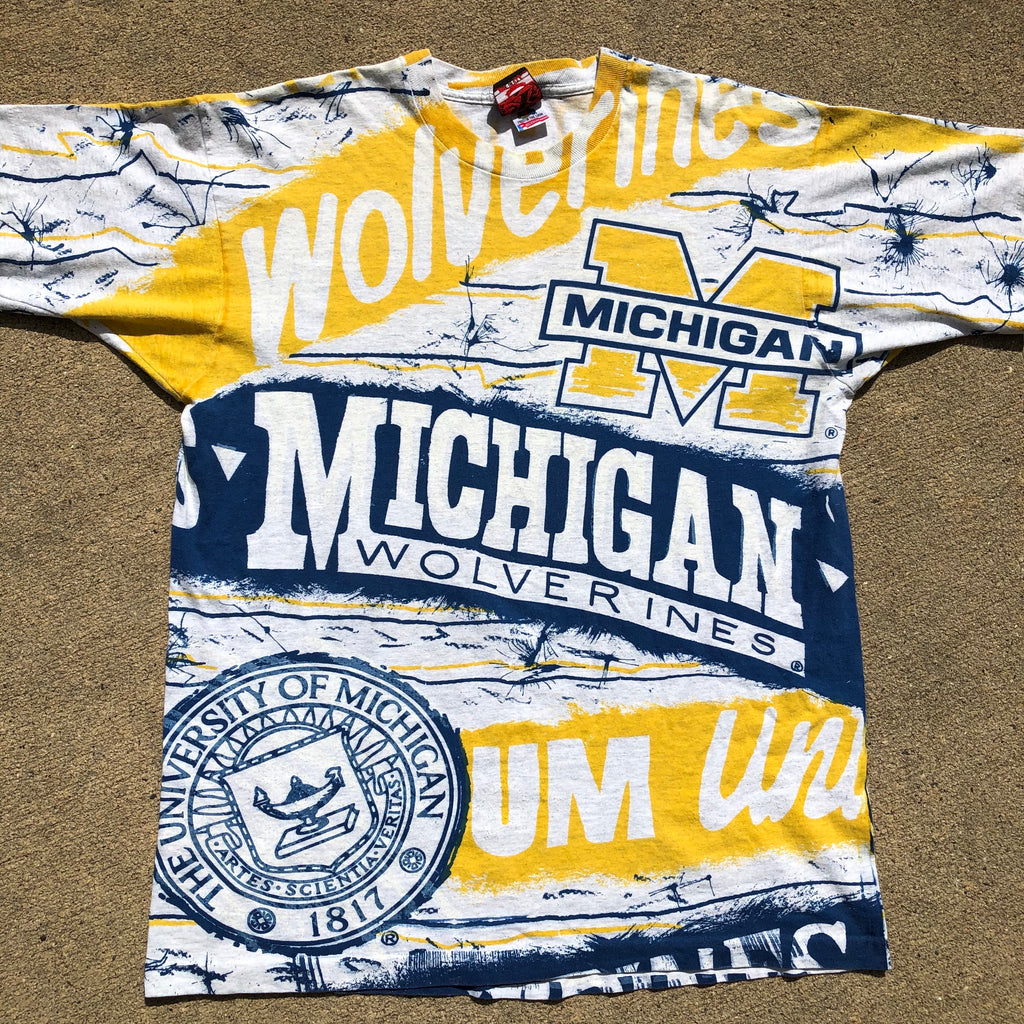 Michigan Wolverines Rare Vintage All Over Print Shirt