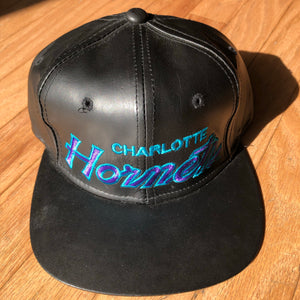 Vintage Charlotte Hornets Leather Hat