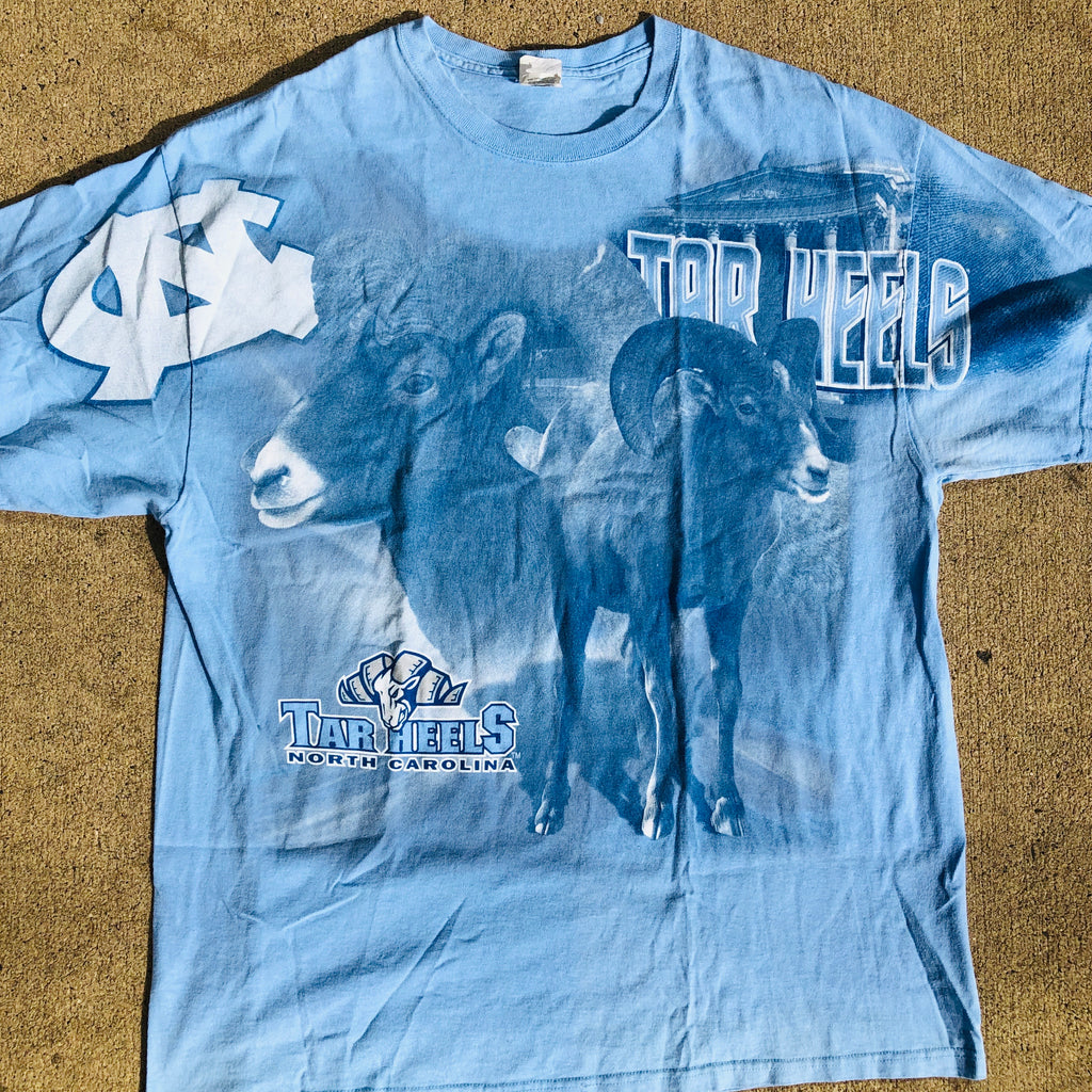North Carolina Tar Heels Vintage All Over Print Shirt Men's 2XL Blue UNC AOP