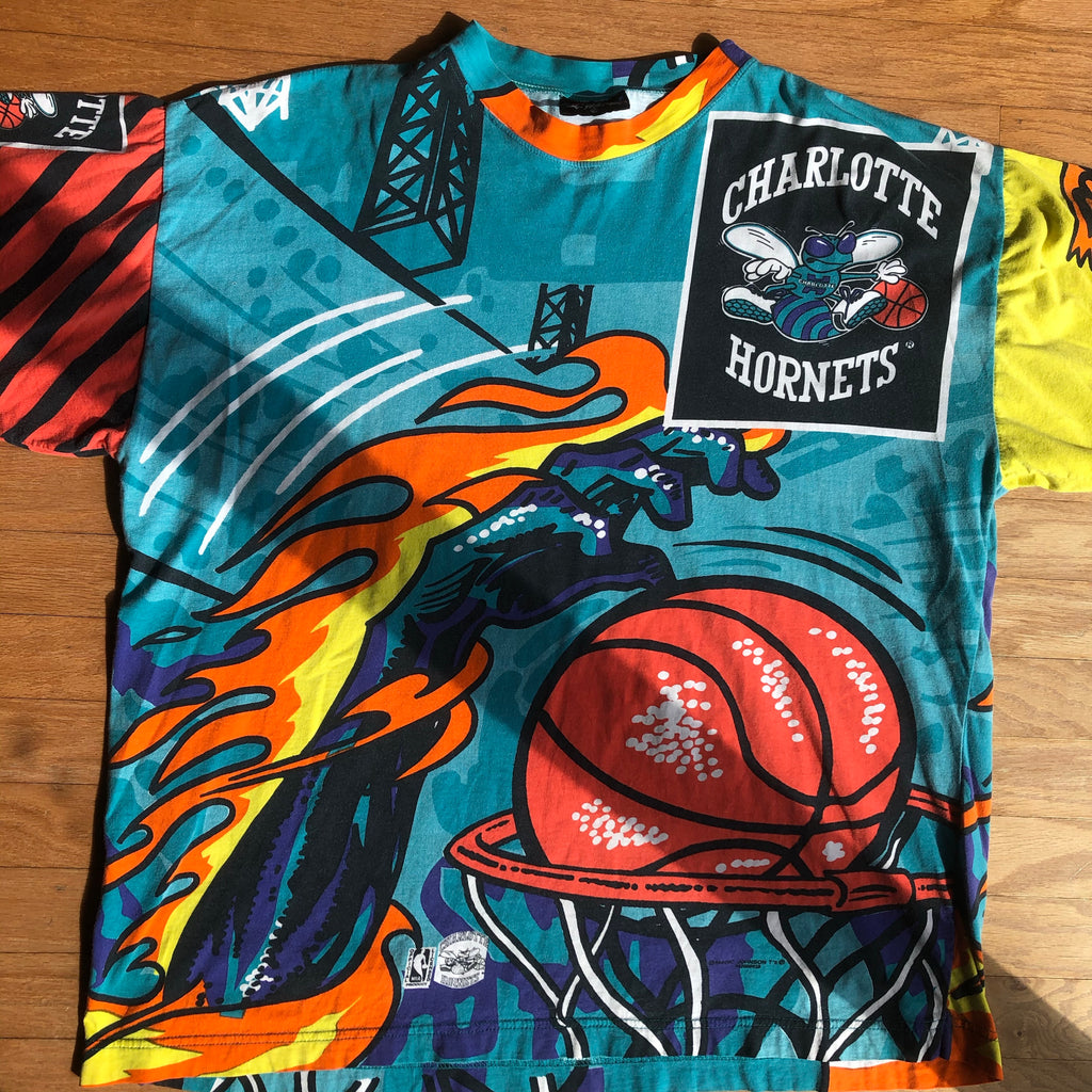 Extremely Rare Charlotte Hornets Vintage Magic Johnson T's Power Slam Shirt
