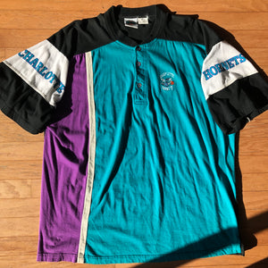 Charlotte Hornets Rare Vintage In The Paint 90's Henley Shirt