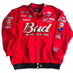 Vintage Nascar Dale Jr Budweiser Racing, King of Beers Jacket. Red, Men's Size XXL