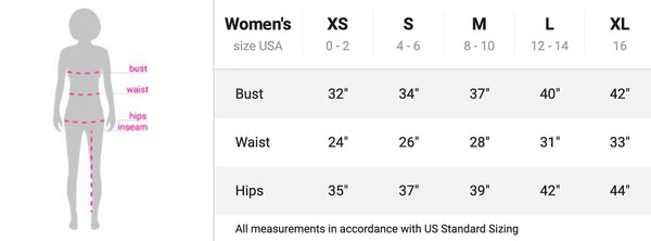 Women's Yoga Leggings Size Chart