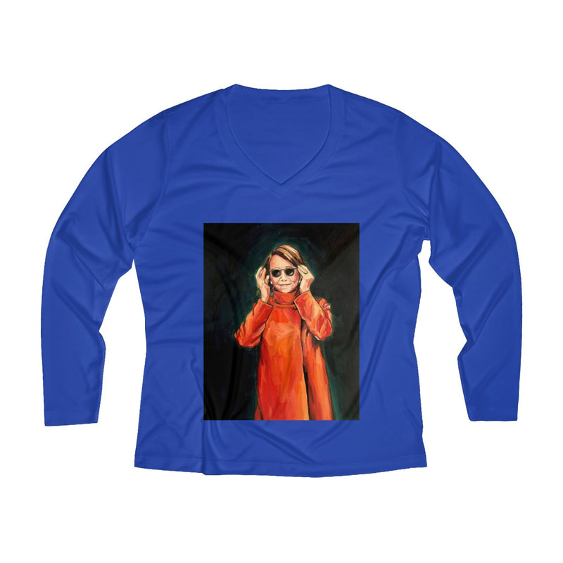 Women's NDP Long Sleeve V-Neck Shirt