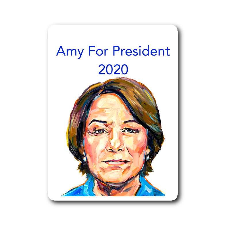 Amy Klobuchar 2020 Democratic presidential nominee Sticker.  Dimensions: 3""
