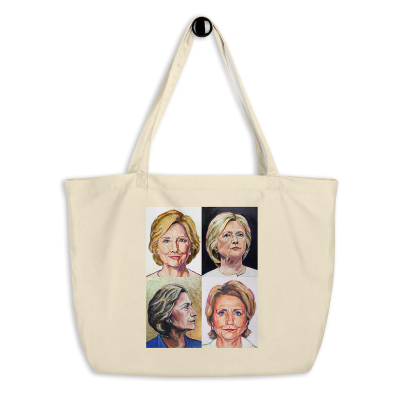 Hillary Clinton Mini Grid Organic Cotton Oversize Tote Bag