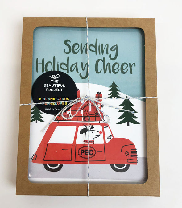 PEC Oval HOLIDAY CHRISTMAS BOX SET 8 CARDS DOG SANTA • PRINCE EDWARD COUNTY • The Beautiful Project