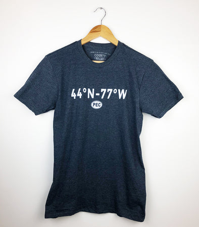 44°N 77°W PEC COORDINATES  Men's Unisex NAVY Heather Modern Crew T-shirt • Prince Edward County