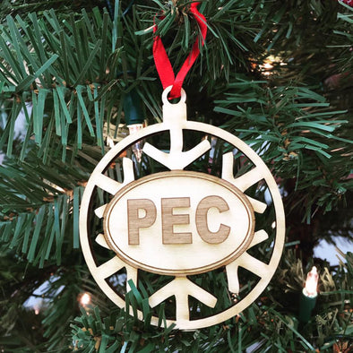 SNOWFLAKE PEC Wood Christmas Holiday Ornament • Prince Edward County Euro Oval
