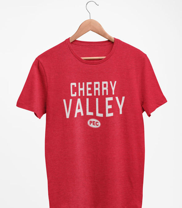 PRE-SALE!  CHERRY VALLEY PEC Oval Men's Unisex RED Heather Modern Crew T-Shirt • Prince Edward County