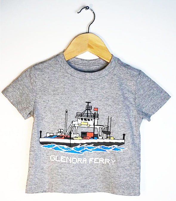 GLENORA FERRY BOAT • Kids & Youth ATHLETIC LIGHT GREY Modern Crew T-Shirt • Prince Edward County PEC