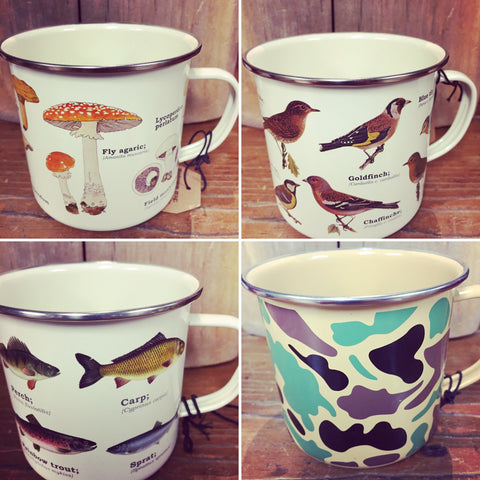 ENAMEL METAL MUGS • 6 DESIGNS • FISH BIRDS BUTTERFLIES MUSHROOMS WILDFLOWERS CAMO