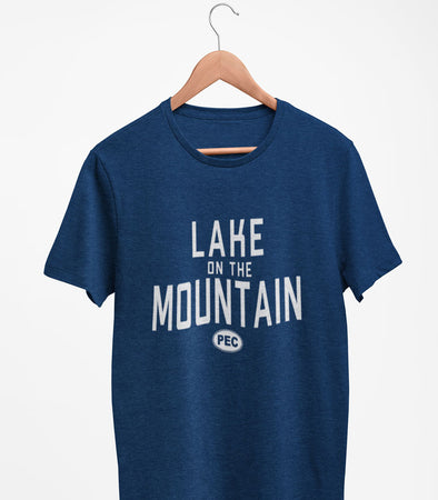 PRE-SALE!  LAKE ON THE MOUNTAIN PEC Oval Men's Unisex NAVY BLUE Modern Crew T-Shirt • Prince Edward County