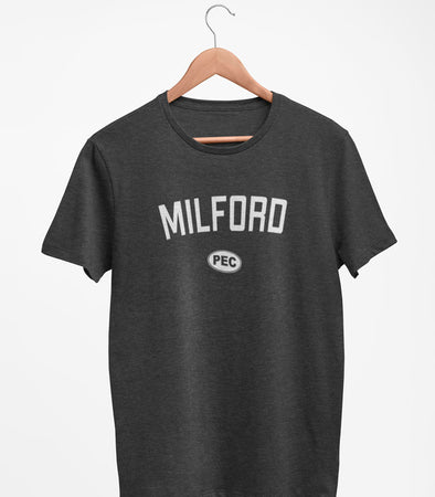 MILFORD PEC Oval Men's Unisex CHARCOAL Heather Modern Crew T-Shirt • Prince Edward County