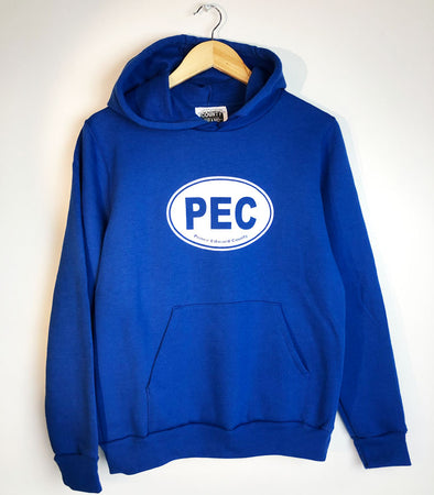 PEC Oval Hoodie on ROYAL BLUE Unisex Prince Edward County