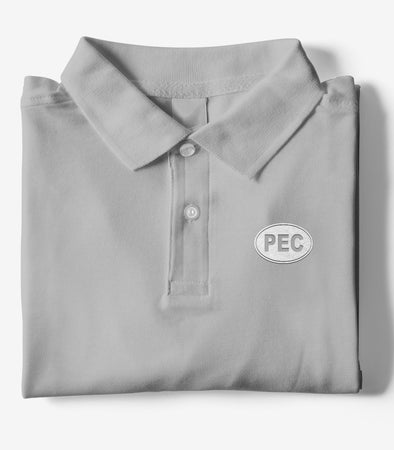 PEC Oval Embroidered GREY HEATHER Men's Cotton Piqué Polo Short Sleeve Shirt • Prince Edward County • Golf Tennis