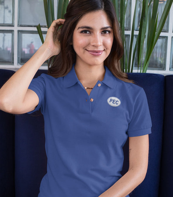PRE-SALE!  PEC Oval Embroidered ROYAL BLUE WOMEN'S Cotton Piqué Polo Short Sleeve Shirt • Prince Edward County • Golf Tennis