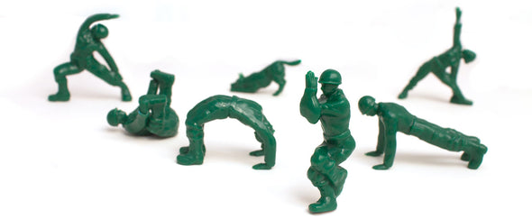 Series 2 Yoga Joes Green Army Men Plastic Figurine Set of 7 • Keep the Inner Peace