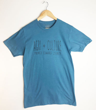 NEW COLOUR! AGRI + CULTURE SLATE BLUE Men's / Unisex Modern Crew T-shirt • Printed in Prince Edward County PEC!