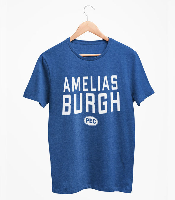 AMELIASBURGH PEC Oval Men's Unisex NAVY Heather Modern Crew T-Shirt • Prince Edward County