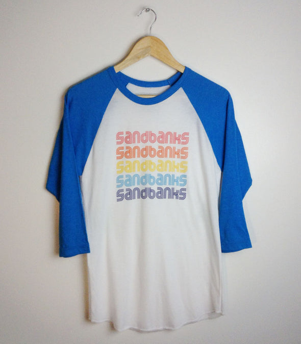 SANDBANKS RETRO 70s • Prince Edward County • Neon Blue Unisex Modern Baseball Shirt