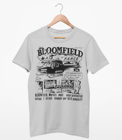 VINTAGE BLOOMFIELD Air Farce HELICOPTER Caper • Prince Edward County PEC • Men's / Unisex Silver Modern Crew T-Shirt