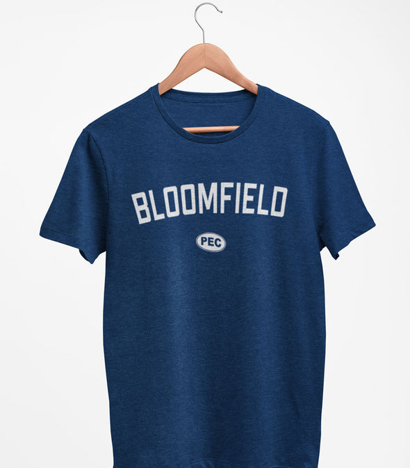 BLOOMFIELD PEC Oval Men's Unisex NAVY BLUE Modern Crew T-Shirt • Prince Edward County