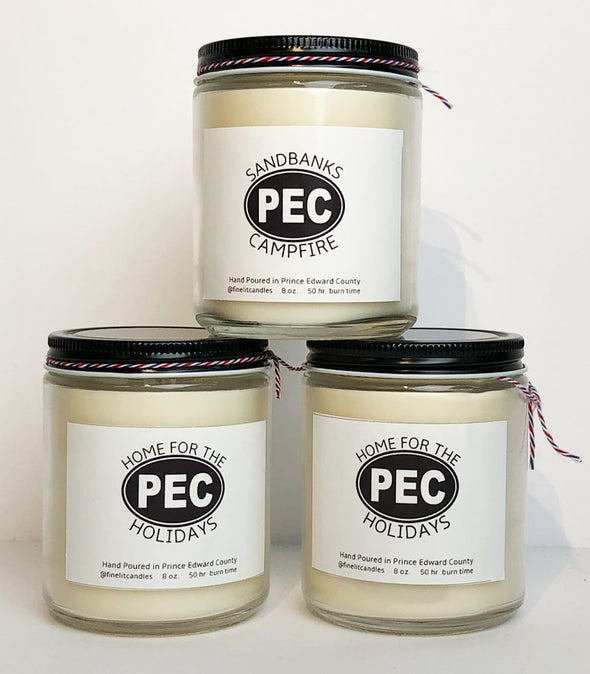 PEC CANDLES  by FINE LIT CANDLES • Prince Edward County •  Locally Made, Soy Based, Assorted Scents