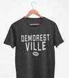 DEMORESTVILLE PEC Oval Men's Unisex CHARCOAL Heather Modern Crew T-Shirt • Prince Edward County