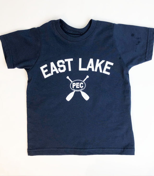 EAST LAKE on Navy BLUE • Prince Edward County • Kids and Youth Modern Crew T-Shirt