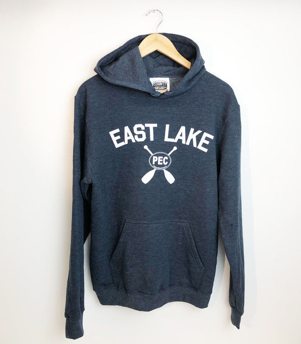 EAST LAKE NAVY HEATHER Unisex HOODIE SWEATSHIRT • PEC Prince Edward County • Made in Canada