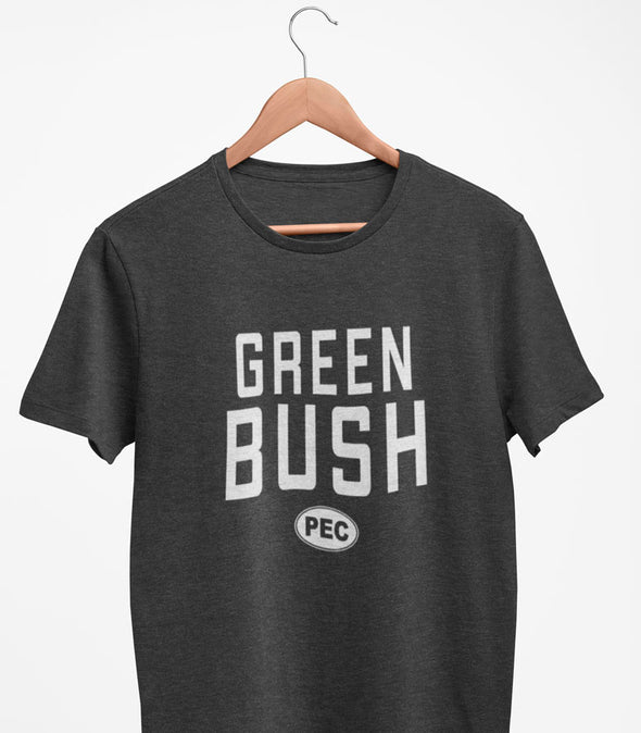 GREEN BUSH PEC Oval Men's Unisex CHARCOAL Heather Modern Crew T-Shirt • Prince Edward County