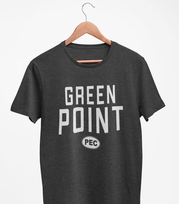 PRE-SALE!  GREEN POINT PEC Oval Men's Unisex CHARCOAL Heather Modern Crew T-Shirt • Prince Edward County