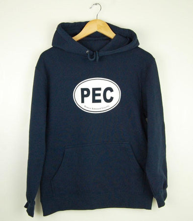 youth prince edward county PEC oval on navy pullover hoodie sweater