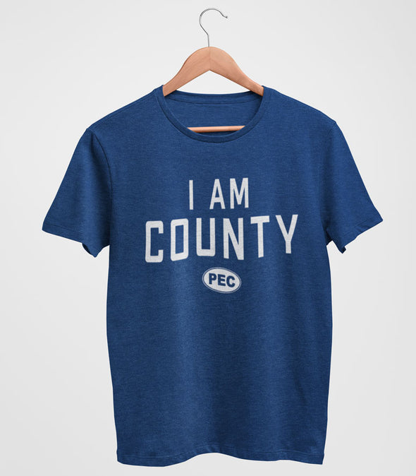 I AM COUNTY PEC Oval Men's Unisex Navy Heather Modern Crew T-Shirt • Prince Edward County